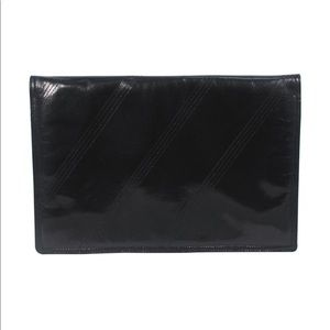 BOTTEGA VENTA Vintage Black Polished Clutch